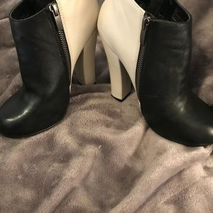 Cream and Black Booties size 6